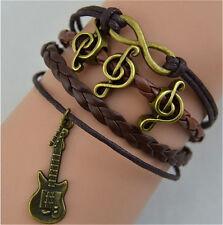 NEW Infinity Guitar Symbol Music Friendship Bronze Leather Charm Bracelet