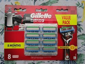 Gillette Fusion 5 Proglide Power 1 pack of 8 genuine razor blades Free shipping.