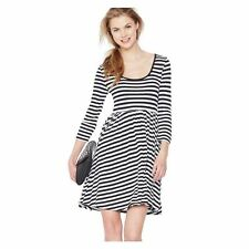 Round Neck 3/4 Sleeve Striped Dresses for Women