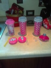 Set of 3 cups for girls 2-pink flower/1-Hello Kitty sipping to straw