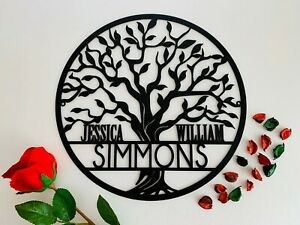 Tree of Life Personalized Family Name Door Sign Custom Wall Hanging Outdoor Use