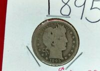 1895 P Barber Silver Quarter Coin Choice AG / G Good Circulated Early Date