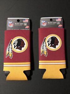 Lot of 2 Washington Redskins Slim Can Cooler Fits 12 oz Slim Cans 2 Sided Design