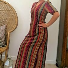 Handmade Maxi Dress in Vintage Look Funky Abstract Pattern 80's 90's Sz 8 10