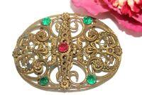 Antique Edwardian Ruby Emerald Czech Glass Brass Ornate Scrolls Belt Buckle MS2