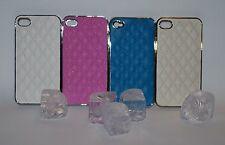 Hard Back Case für iPhone 4 Leder Stepp Chrom Cover Schutz Hülle Etui neu