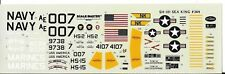 Loose, SH-3H Sea King  Decals 1/72  #364  For Testors Kit,  No Instructions