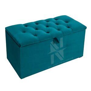 CHESTERFIELD PLUSH VELVET OTTOMAN BOX FOR TOYS, BLANKETS AND ETC