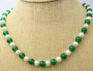 Natural 7-8mm White Akoya Pearl & 8mm Green Emerald Round Beads Necklace 18''