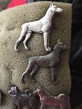 VINTAGE KENART 1970s Dark / Light Silver Plated Dobe, Doberman Pinscher Dog PIN
