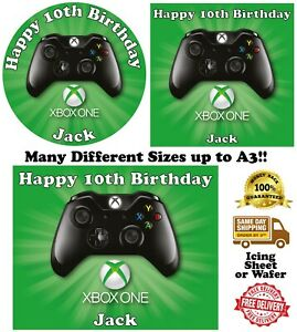 Xbox X-box Personalised Edible Wafer Icing Cake Topper Costco Any Size upto A3