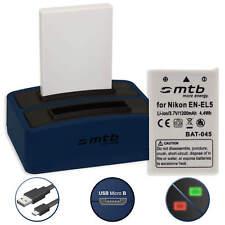 2 Akkus + Dual-Ladegerät EN-EL5 für Nikon Coolpix P3,P4, P80,P90,P100, P500,P510