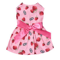Lovely  Pet Puppy  Dog Clothes Sweet Strawberry Ribbon Bowknot Decor Dress