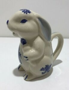 Vintage Small Bunny Pitcher Creamer Blue White Rabbit Handle JSNY