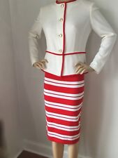 NWT St John Knit Suit skirt jacket size 12 red sea coral santana wool rayon