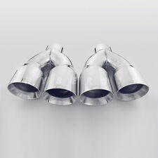"1Pair  3"" In Dual 4"" Out 11.8 Long Quad Double Wall Stainless Steel Exhaust Tips"