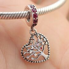 925 Sterling Silver Tree of Love Dangle Charm Mixed Enamel CZ Pendant F Bracelet