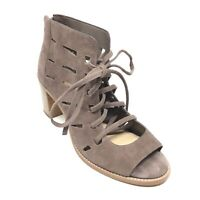 Women's Vince Camuto Tressa Lace Up Ankle Boots Booties Size 8 W Taupe Suede W9