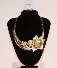 Jewelry Gold Tone Rhinestone Floral Jxeu Necklace & Earrings Set Premium Fashion
