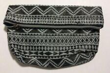 "6"" x 10"" Vinyl Black White Zipper Clutch Bag Purse"