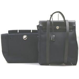 Hermes Back Pack Her Bag Black Canvas 707688