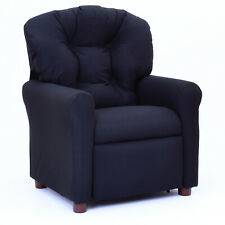 The Crew Furniture Traditional Kids Microfiber Recliner Chair, Jet Black