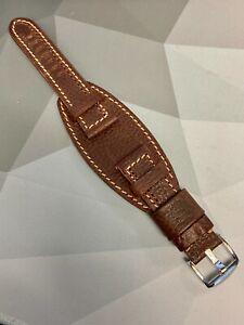 Handmade Vintage Genuine ENZO MECHANA Leather Watch Bund Cuff Strap Cognac 24MM