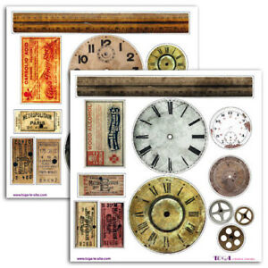 Sticker Paper Clocks Gears Tickets Scrapbooking Art Crafts Card Making Stickers