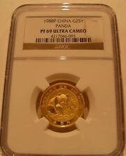 China 1988P Gold 1/4 oz Panda 25 Yuan NGC PF-69UC