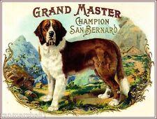 Grand Master Saint Bernard Dog Vintage Tobacco Cigar Box Crate Label Art Print