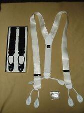 Tuxedo 100% Silk Suspenders Formal Braces Big & Tall 1 1/2 Inch White New