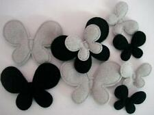 80 Black & Grey Felt Butterfly Big/Small Mix Applique/Trim/Craft/Sew On/Bow H408