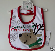 """Carter's Baby Bib """"My First Christmas"""" One Size NWT"""