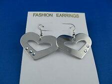 Ohrringe lange Ohrhänger  Silber mit Strass Modernes klares Herz Design