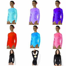 Crushed VELVET Gym Gymnastics Dance LEOTARD Girls Womans Sleeved Dancewear UK