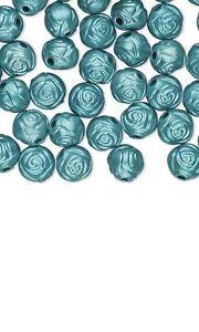 20 Rose Shaped 8mm Plastic Metallic Coated Acrylic Rosebud Flower Beads