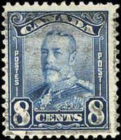 1928 Canada Used 8c F+ Scott #154 King George V Scroll Issue