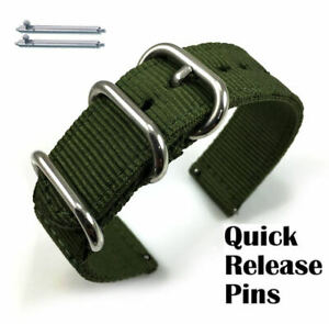 Green Nylon Watch Band Strap Belt Army Military Ballistic Silver Buckle #6033