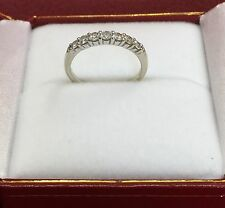 7 Stone Diamond  Wedding Band Ring By ROBBINS BROTHERS 14K. White Gold  Size 4.5