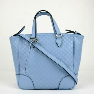 Gucci Light Blue Guccissima Leather Small Crossbody Satchel Bag 449241 4503