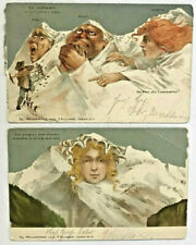 Early Swiss Postcards Fantasy Metamorphic Faces Mountains Weingartner 111 / 112