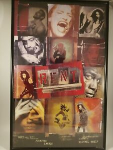 "RENT-  14"" x 22"" Theater Poster - Original Broadway Cast.  Professionally Framed"