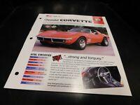 1969 Chevrolet Corvette Spec Sheet Brochure Photo Poster