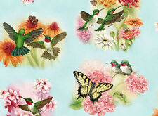HUMMINGBIRDS  BUTTERFLIES  BLUE  ELIZABETH STUDIO COTTON QUILTING FABRIC YARDAGE