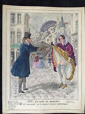 """""""LA MODE DU PARAPLUIE"""" en 1839 ENCRE ET AQUARELLE HEROTIQUO-HUMORISTIQUE"""