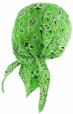 Doo Rag Bandana Du Head Wrap GREEN Paisley Skull Cap Mens Womens Biker Dew Hat