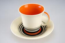 Vintage Art Deco Susie Cooper Crown Works Orange Black Coffee Cup & Saucer