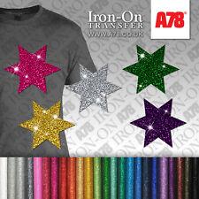 IRON-ON Glitter Stars Motif Hot-Fix FABRIC T-SHIRT TRANSFER SEQUIN Stickers Star