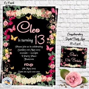 FLORAL FLOWER invitation invite 13th any age birthday YOU PRINT