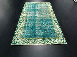 Turquoise Vintage Rug, Turkish Overdyed Rug, Antique Rug, HandKnotted Rug, C196